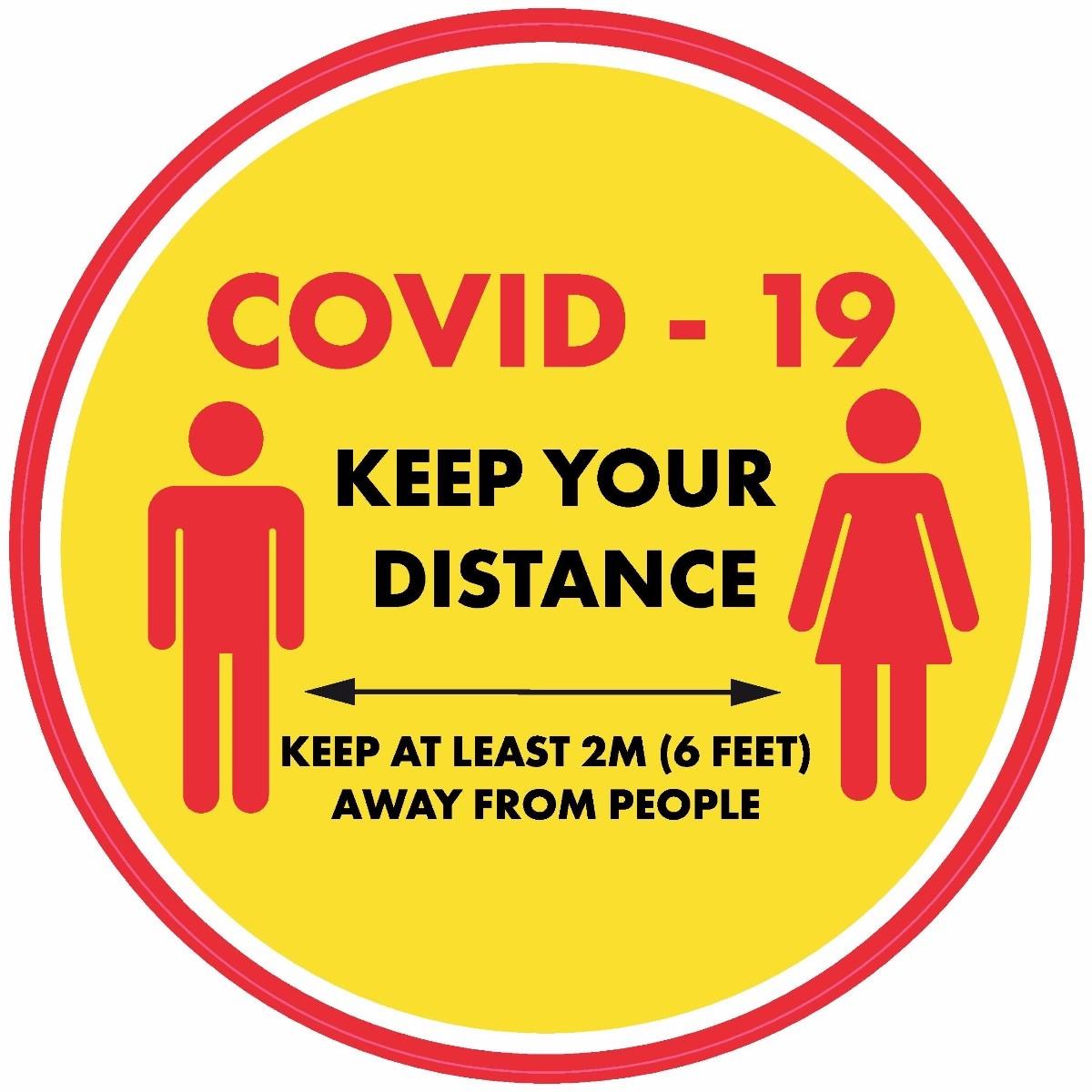 Keep your distance floor signs 420mm diameter 10 Pack