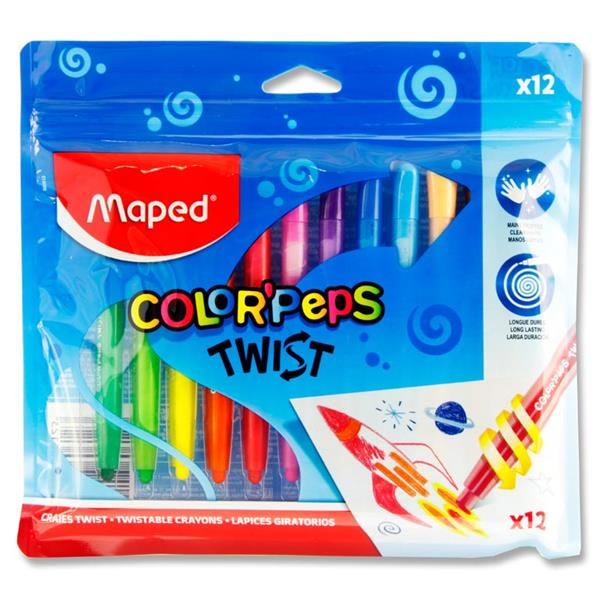 Maped Colorpeps Twist Pkt 12 Twistable Crayons