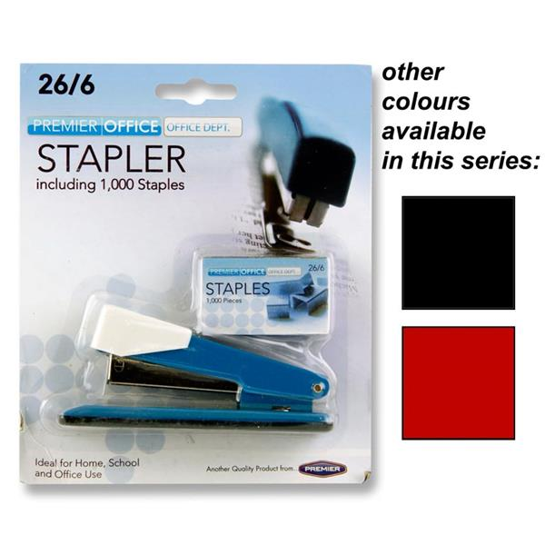 PREMIER OFFICE STAPLER SET  26 6 HALF STRIP STAPLER AND STAPLES