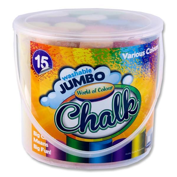 Woc Bucket 15 Jumbo Sidewalk Chalk - Coloured