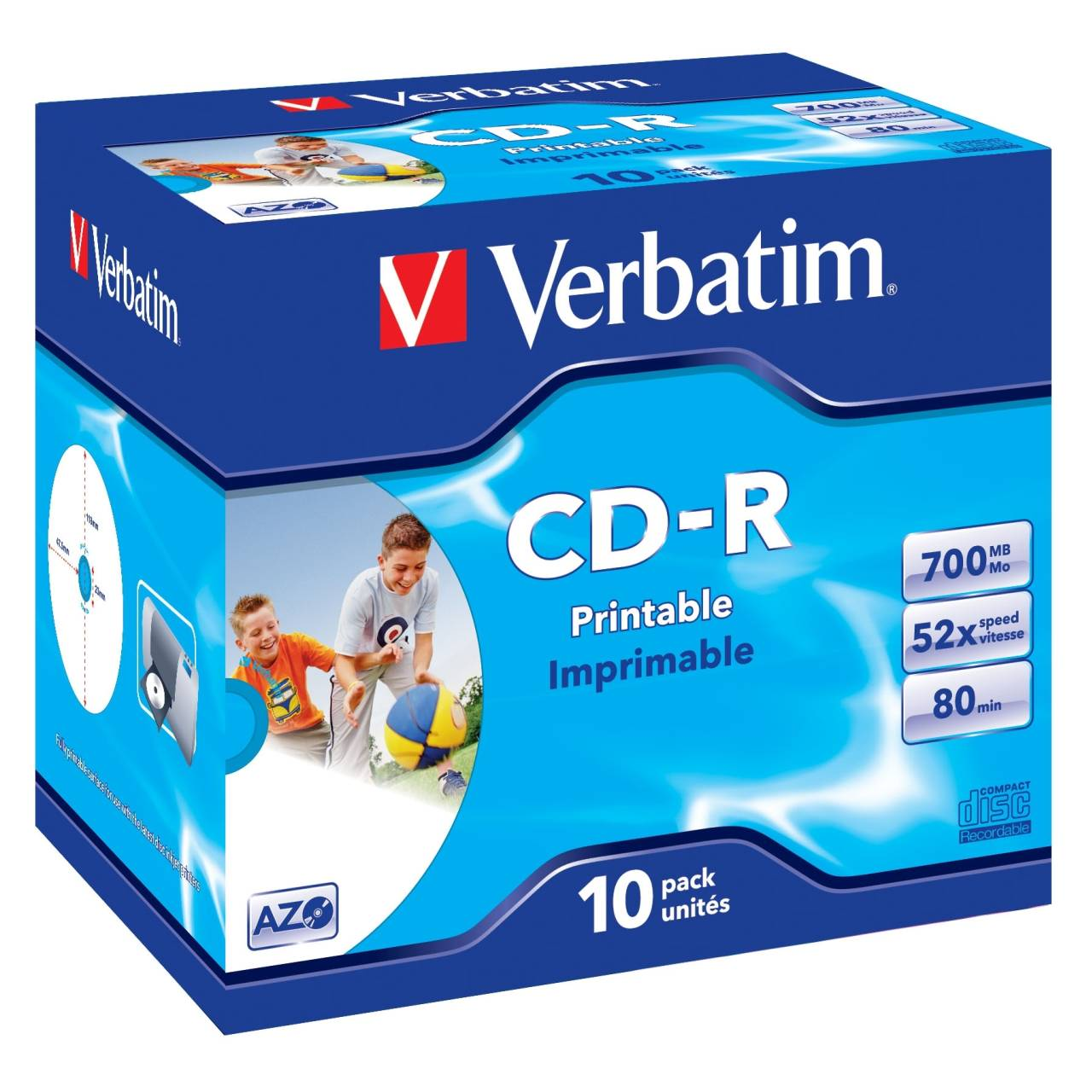 10 Pack Blank CD -R Printable Verbatim Dual Cases