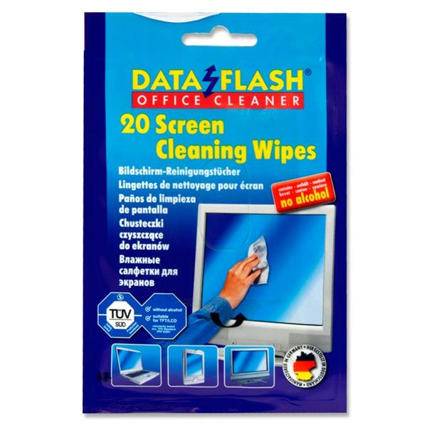 DATAFLASH OFFICE  PKT 20 SCREEN CLEANING WIPES