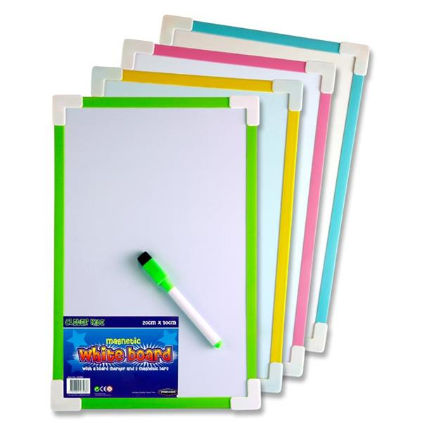 CLEVER KIDZ 20x30cm MAGNETIC WHITEBOARD 4 ASST