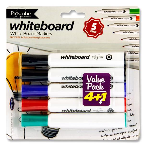 Proscribe Card 4 Dry Wipe Marker Value Pack