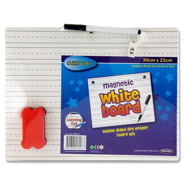 Clever Kidz Double Sided White Board - 30x23cm