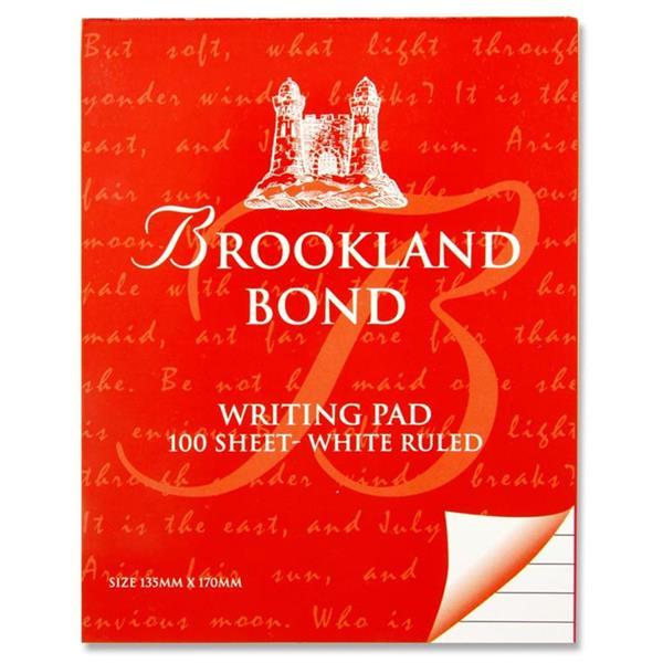 BROOKLAND BOND WRITING PAD 100 SHEET WHITE RULED
